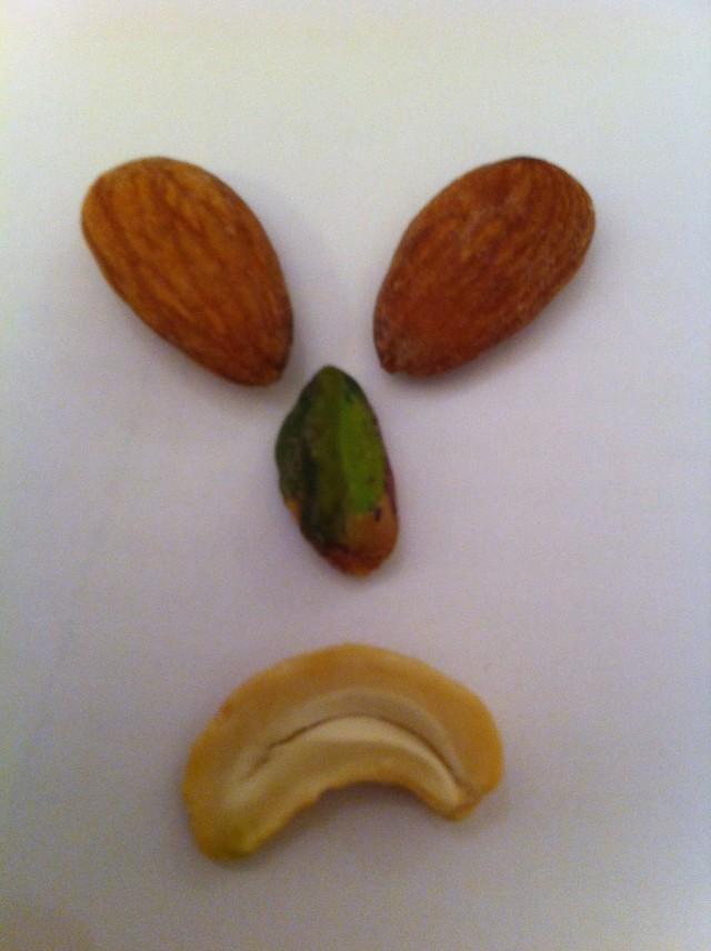 Sad pistchio! Also almonds and a cashew!